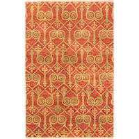 Ecarpetgallery Hand-knotted Jaipur Brown Wool Rug (5'1 x 8')
