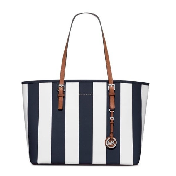 7bccf3b26eb7 Michael Kors Jet Set Travel Navy/White Stripe Medium Travel Tote Bag