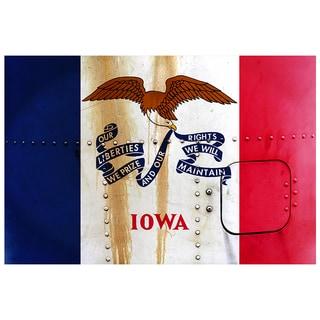 Iowa 18x12 National Patriotic Flag Ready to Hang Metal Print