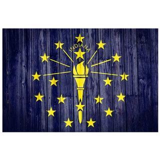 Indiana 18x12 National Patriotic Flag Ready to Hang Metal Print