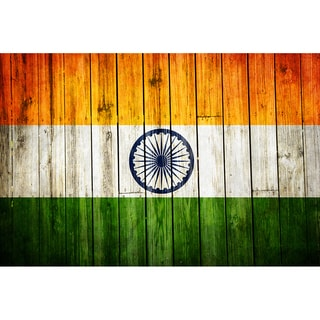 India 12x18 National Patriotic Flag Ready to Hang Metal Print