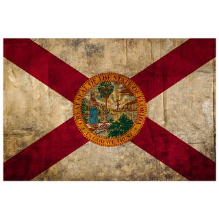 Florida- 18x12 National Patriotic Flag Ready to Hang Metal Print