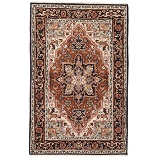 Ecarpetgallery Hand-knotted Royal Heriz Black and Brown Wool Rug (5'11 x 9'1)