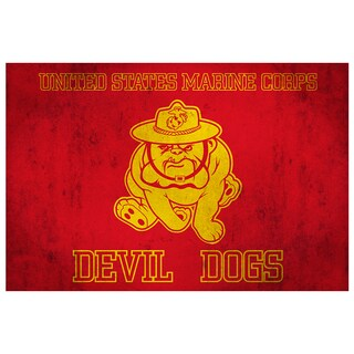 Marine Corps Devil Dog Flag 18x12 Ready to Hang Metal Print