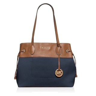 Michael Kors Marina Navy North/South Large Drawstring Tote Bag