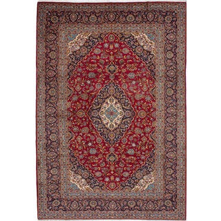 Ecarpetgallery Hand-knotted Persian Kashan Red Wool Rug (7'11 x 11'8)