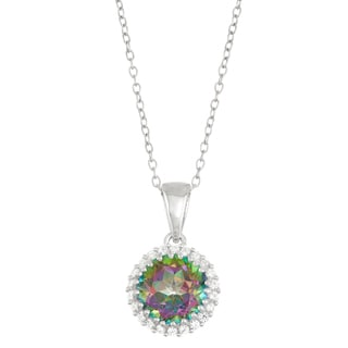 Gioelli Sterling Silver Mystic Topaz with Created White Sapphire Halo Pendant
