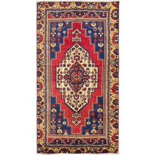 Ecarpetgallery Hand-knotted Anatolian Vintage Blue and Red Wool Rug (6' x 11'3)