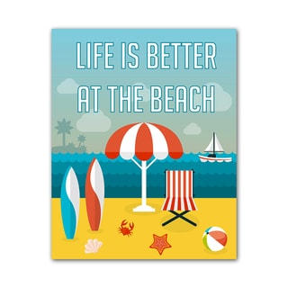 Beach Style Quote Print At the Beach Colorful Printed on Metal
