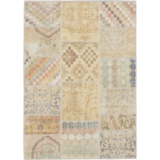Ecarpetgallery Hand-knotted Sunwash Patch Beige and Yellow Wool Rug (5'7 x 7'10)