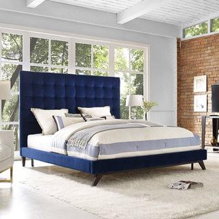 Eden Navy Velvet Tufted Platform Bed