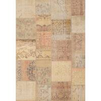 Ecarpetgallery Hand-knotted Sunwash Patch Beige and Yellow Wool Rug (6'8 x 9'10)