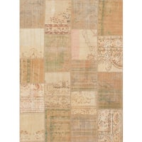 Ecarpetgallery Hand-knotted Sunwash Patch Beige Wool Rug (5'8 x 7'10)