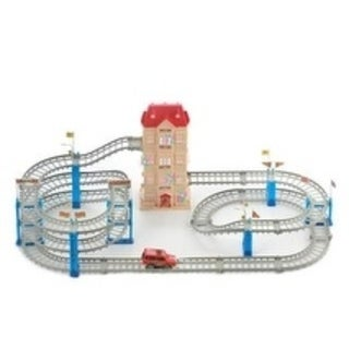 Build-a-Track Super Ride - No tools required, features a unit elevator, watch the car drive the track - Blue/Red