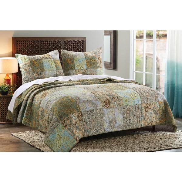 Greenland Home Fashions  Paisley Dream Authentic Patchwork 3-piece Quilt Set