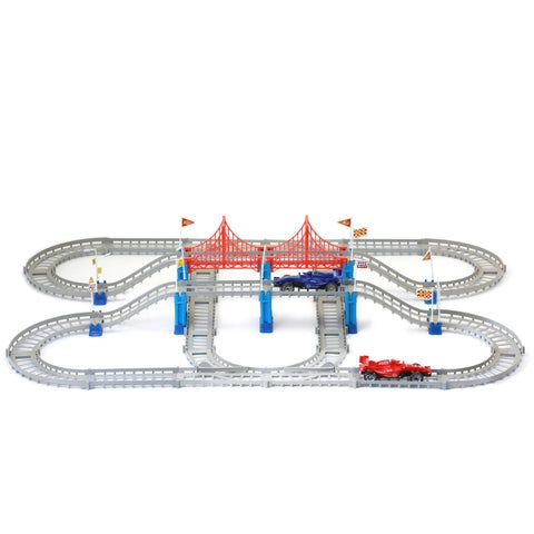 Build-a-Track The Race, no tools required, watch the cars race around the track - multi