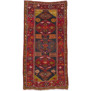 Ecarpetgallery Hand-knotted Antique Shiravan Blue and Red Wool Rug (5'3 x 10')