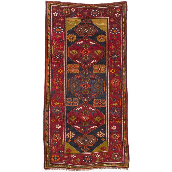 Ecarpetgallery Hand-knotted Antique Shiravan Blue and Red Wool Rug - 5'3 x 10'