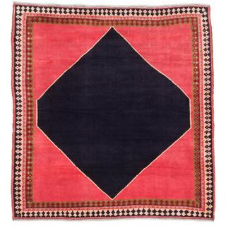 Ecarpetgallery Hand-knotted Persian Kashkuli Gabbeh Blue and Red Wool Rug (5'4 x 5'8)