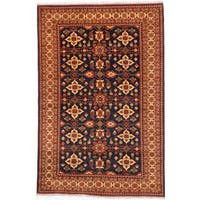 Ecarpetgallery Hand-knotted Finest Kargahi Blue and Brown Wool Rug (6'8 x 10'2)