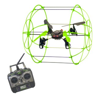 Sky Runner - easy to fly drone that climbs walls and glows in the dark and has a protective cage - Black/Green