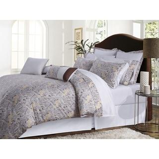 Fiji Chocolate/ Grey Paisley Cotton Sateen 12-piece Bed in a Bag with Deep Pocket Sheet Set