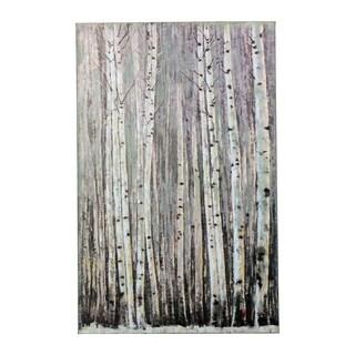 Y-Decor 'Winter Calm Aspen Trees in a Winter Forest' Original Canvas Artwork