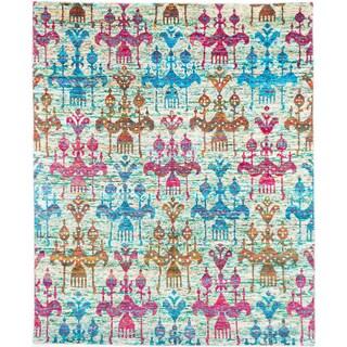 Ecarpetgallery Hand-knotted Beige and Blue Sari Silk Rug (8' x 10')