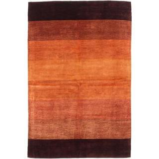 Ecarpetgallery Hand-knotted Kashkuli Gabbeh Brown Wool and Art Silk Rug (5'1 x 7'9)