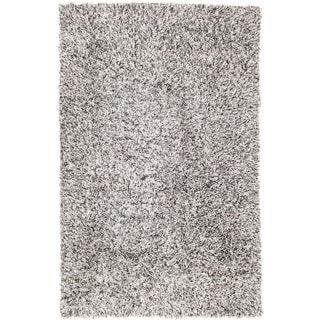 Ecarpetgallery Hand-knotted Retro Plush Black and White Polypropylene and Polyester Shag Rug (6'5 x 9'10)