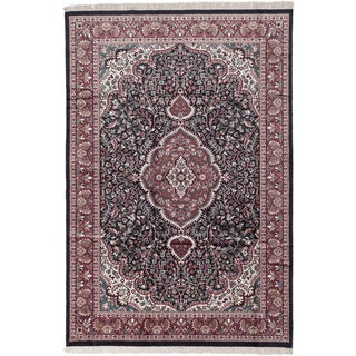 Ecarpetgallery Hand-knotted Kashmir Black and Orange Silk Rug (6'1 x 8'11)