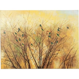 Enjoying the Weather Birds Sitting in a Tree on the Onset of Winter Canvas Artwork