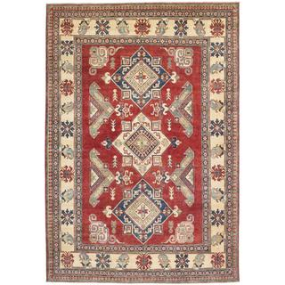 Ecarpetgallery Hand-knotted Finest Gazni Red and Yellow Wool Rug (7'1 x 10'4)