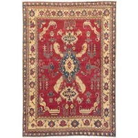 Ecarpetgallery Hand-knotted Uzbek Gazni Red and Yellow Wool Rug (6'11 x 10')