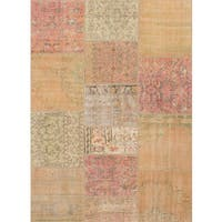 Ecarpetgallery Hand-knotted Sunwash Patch Beige and Yellow Wool Rug (5'8 x 7'10)