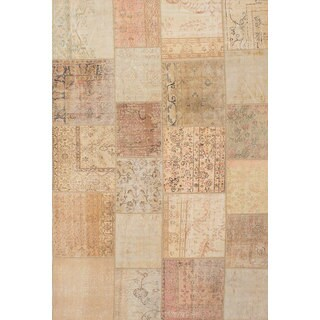 Ecarpetgallery Hand-knotted Sunwash Patch Beige and Yellow Wool Rug (6'7 x 9'9)