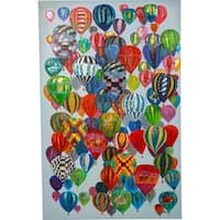 Y-Decor 56 x 36-inch 'Balloons Balloons and More Colorful Balloons' Original Abstract Canvas Artwork