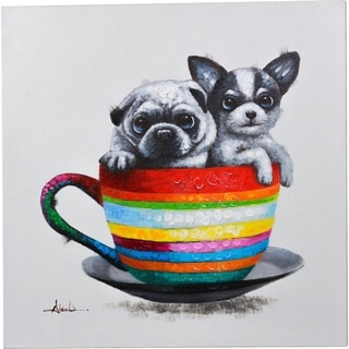Y-Decor 28 x 28-inch 'Buddies in a Teacup' Two Puppies in a Teacup Colorful Original Canvas Artwork