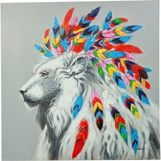 King of the Beasts' Lion with Colorful Feathers Canvas Artwork