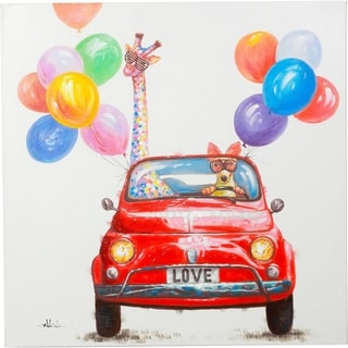 A Party Fun Giraffe and Dog in a Red Car with Balloons Canvas Artwork