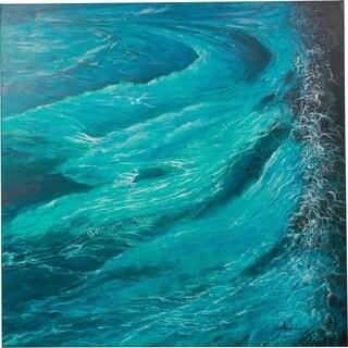 Y-Decor 48 x 48-inch 'Enchanting Waves' Rocky Shoreline Original Canvas Artwork