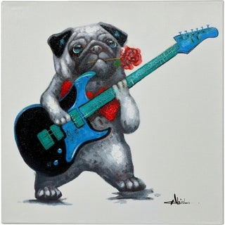 Romantic Dog Playing a Guitar Colorful Artwork Canvas Painting
