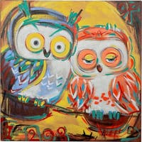 Y-Decor 'Two Owls Sitting on a Branch Enjoying Each Other' Vibrant Colors Original Canvas Artwork - Multi-color
