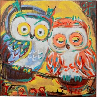 Y-Decor 'Two Owls Sitting on a Branch Enjoying Each Other' Vibrant Colors Original Canvas Artwork