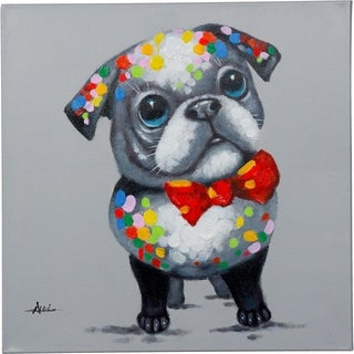 Confidence Painting of a Preppy Dog Wearing a Bowtie Canvas Artwork
