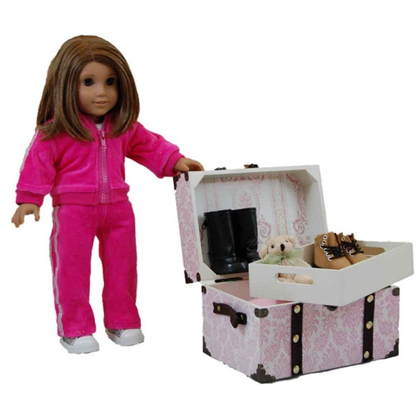 The Queen's Treasures Pink Doll Steamer Trunk