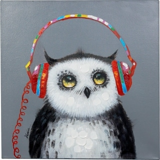 Y-Decor 'Attentive Owl' Original Hand-painted 24 x 24-inch Canvas Artwork