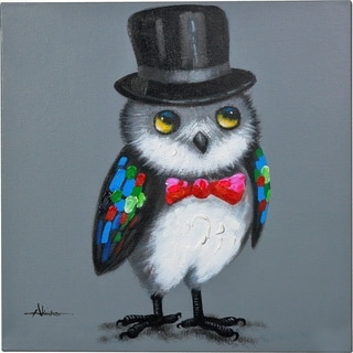 Y-Decor 24 x 24-inch 'The Wise Owl' Wearing A Hat Original Canvas Artwork