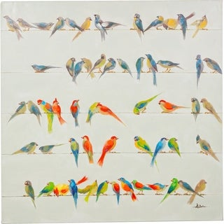 All Together Colorful Birds Sitting Vibrant Canvas Artwork