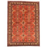 Ecarpetgallery Hand-knotted Finest Kargahi Brown Wool Rug (6'9 x 9'5)